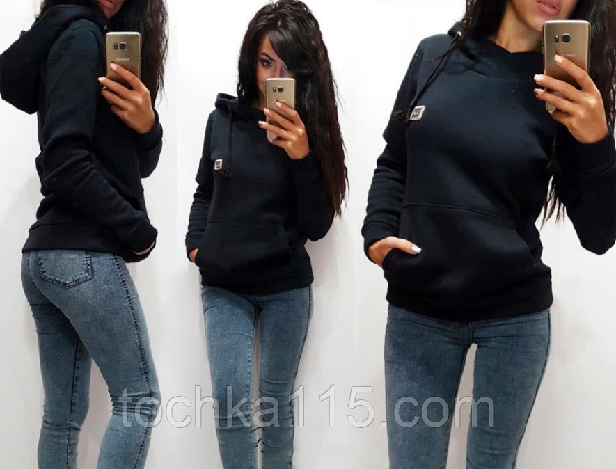Женская теплая толстовка турецкая трехнитка на флиссе с капюшоном S/M/L/XL