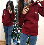 Женская теплая толстовка турецкая трехнитка на флиссе с капюшоном S/M/L/XL, фото 5