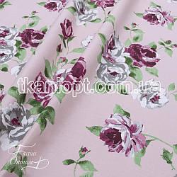 Ткань Хлопок принт цветы (розовый)