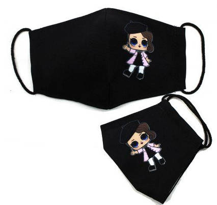 "Многоразовая 4-х слойная защитная маска ""Куколка"" размер 3, 7-14 лет, коричневый mask2NEW"