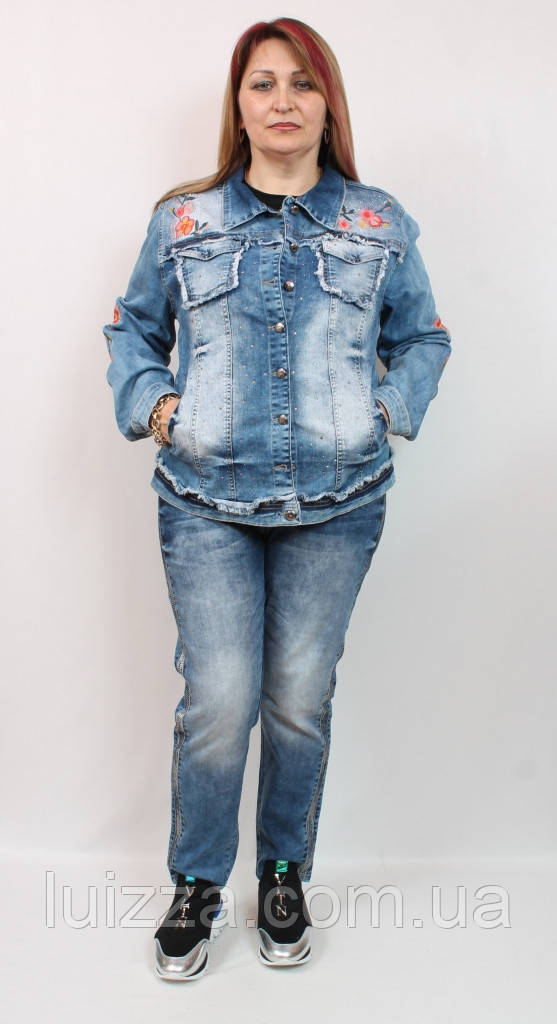 Джинсовый пиджак с вышивкой Luizza (Турция)  50 - 56  р
