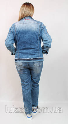 Джинсовый пиджак с вышивкой Luizza (Турция)  50 - 56  р, фото 2
