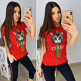 Удобная летняя женская футболка Gucci S/M/L/XL, фото 3
