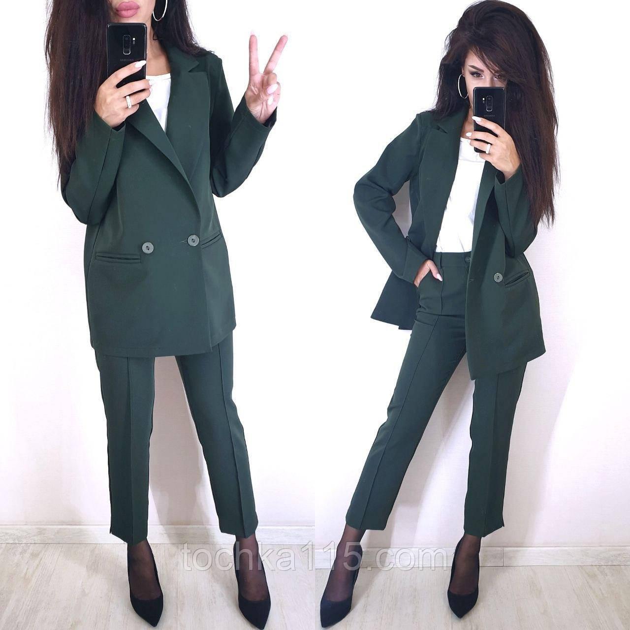 Стильный классический костюм (жакет+брюки), S/M/L, бутылочный