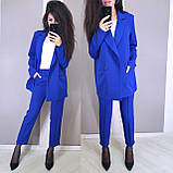 Стильный классический костюм (жакет+брюки), S/M/L, бутылочный, фото 2