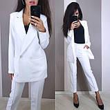 Стильный классический костюм (жакет+брюки), S/M/L, бутылочный, фото 3