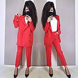 Стильный классический костюм (жакет+брюки), S/M/L, бутылочный, фото 4