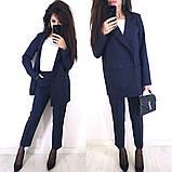 Стильный классический костюм (жакет+брюки), S/M/L, бутылочный, фото 5