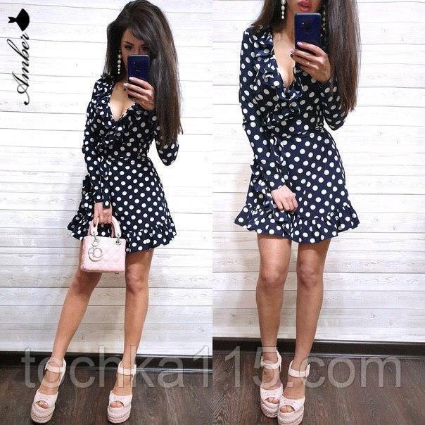 Легке літнє плаття 42-44, 44-46 рр, чорний горошок