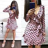 Легке літнє плаття 42-44, 44-46 рр, чорний горошок, фото 3