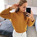 Стильний в'язаний кроп светр з декоративними вилогами, 42-46 р, кемел, фото 7