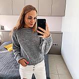 Стильний в'язаний кроп светр з декоративними вилогами, 42-46 р, кемел, фото 8