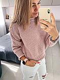 Стильный вязаный кроп свитер с декоративными отворотами, 42-46 р, сиреневый, фото 7