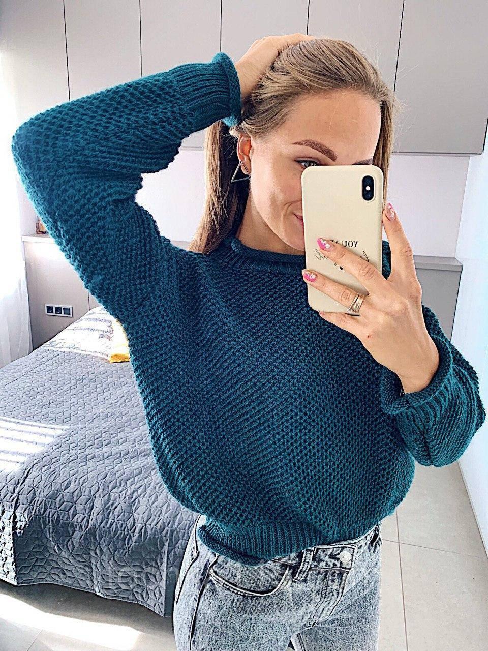 Стильный вязаный кроп свитер с декоративными отворотами, 42-46 р, синий