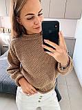 Стильный вязаный кроп свитер с декоративными отворотами, 42-46 р, синий, фото 5