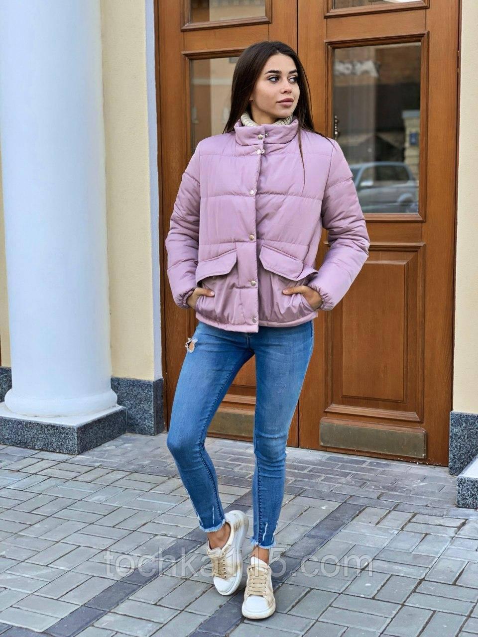 Теплая курточка на кнопках, S/M, цвет пудра