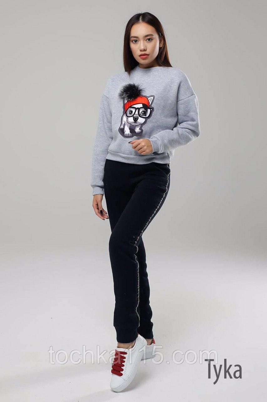 Стильний жіночий світшот, трехнитка на флісі S/M/L, сірий