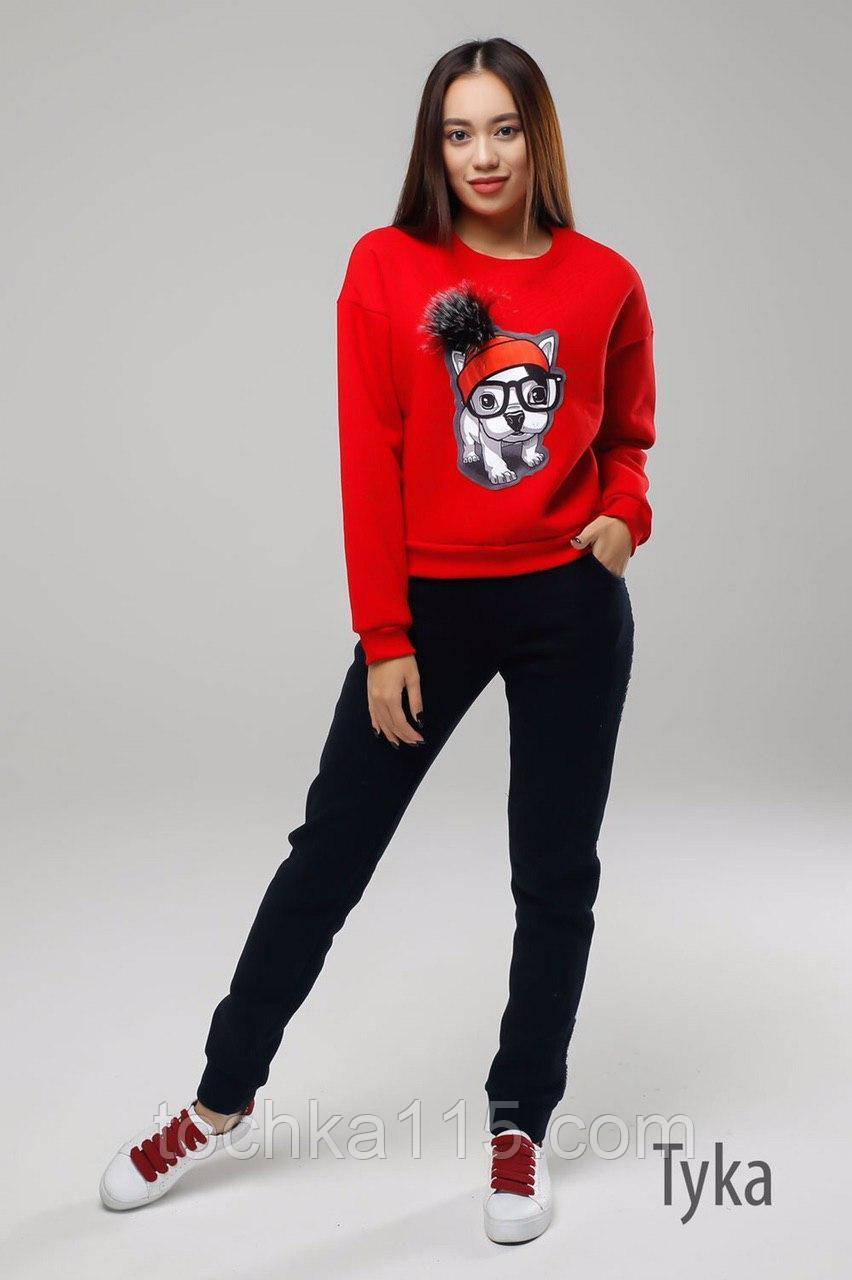 Стильный женский свитшот,  трехнитка на флисе S/M/L, красный