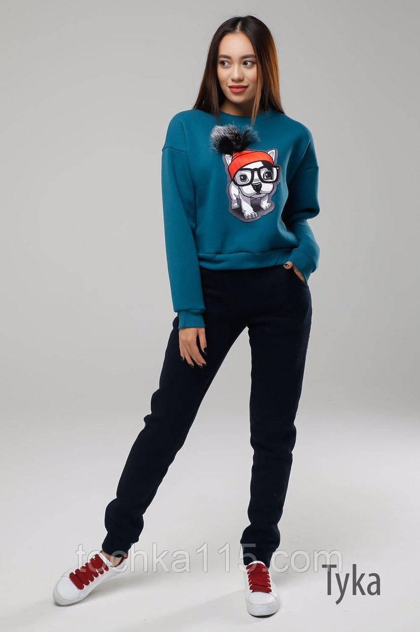 Стильный женский свитшот,  трехнитка на флисе S/M/L, синий