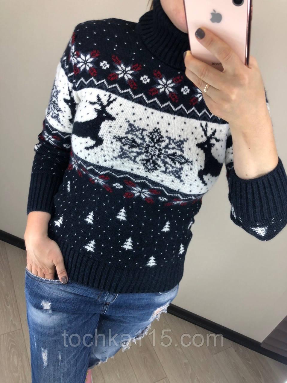 Теплий вовняний жіночий светр з оленями, новорічний (в'язка)