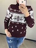 Теплий вовняний жіночий светр з оленями, новорічний (в'язка), фото 3