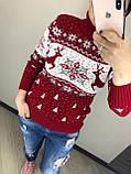 Теплий вовняний жіночий светр з оленями, новорічний (в'язка), фото 4