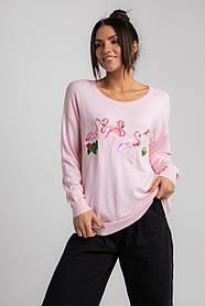 Приятная трикотажная женская кофта свободного кроя с фламинго в 3  трендовых  цветах в универсальном размере