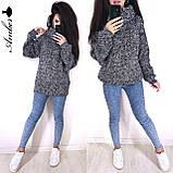Очень теплый и стильный свитер-хомут, 42-46 р, меланж-беж, фото 2