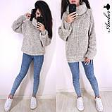Очень теплый и стильный свитер-хомут, 42-46 р, серый, фото 3