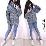 Очень теплый и стильный свитер-хомут, 42-46 р, серый, фото 6