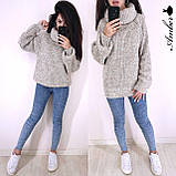 Очень теплый и стильный свитер-хомут, 42-46 р, коричневый, фото 4