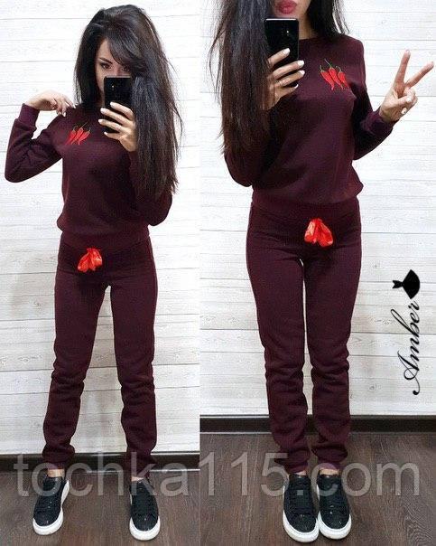 Женский спортивный костюм, костюм для прогулок, S/M (бордо) (familylook)