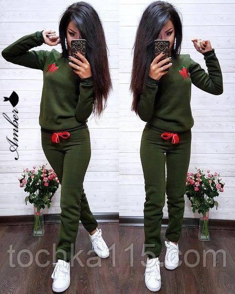 Женский спортивный костюм, костюм для прогулок, S/M (хаки) (familylook)