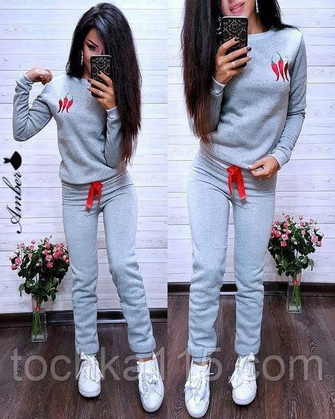 Женский спортивный костюм, костюм для прогулок, S/M (светло-серый) (familylook)