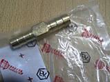Соединитель Двойник 10х10мм шлангов зубчатый латунь длина 55мм переходник автомобильный Белебей №6 для на авто, фото 2