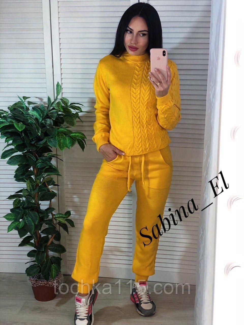 Стильный вязанный костюм, очень комфортный, 42-46р (желтый)