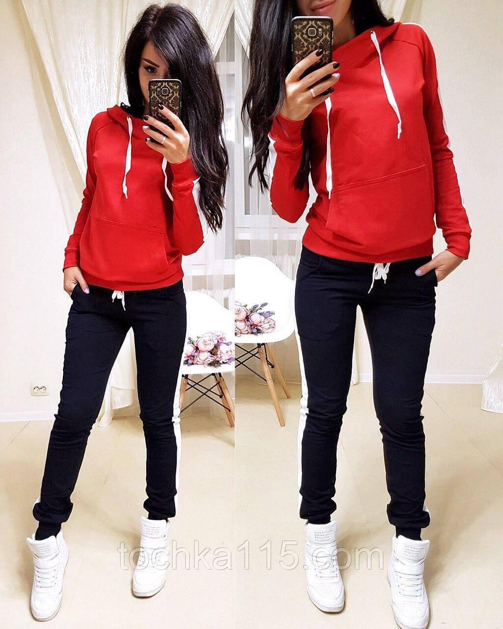 Стильный костюм, турецкая двухнитка, S/M/L/XL/XXL, цвет красный-черный