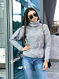Стильный свитер, очень теплый, 42-48 р, горчичный, фото 3