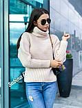 Стильный свитер, очень теплый, 42-48 р, горчичный, фото 6