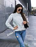 Теплый стильный свитер, 42-48 р, графит, фото 7