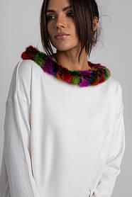 Приятная трикотажная женская кофта свободного кроя с мехом в 6 трендовых  цветах в размерах S/M и L/XL