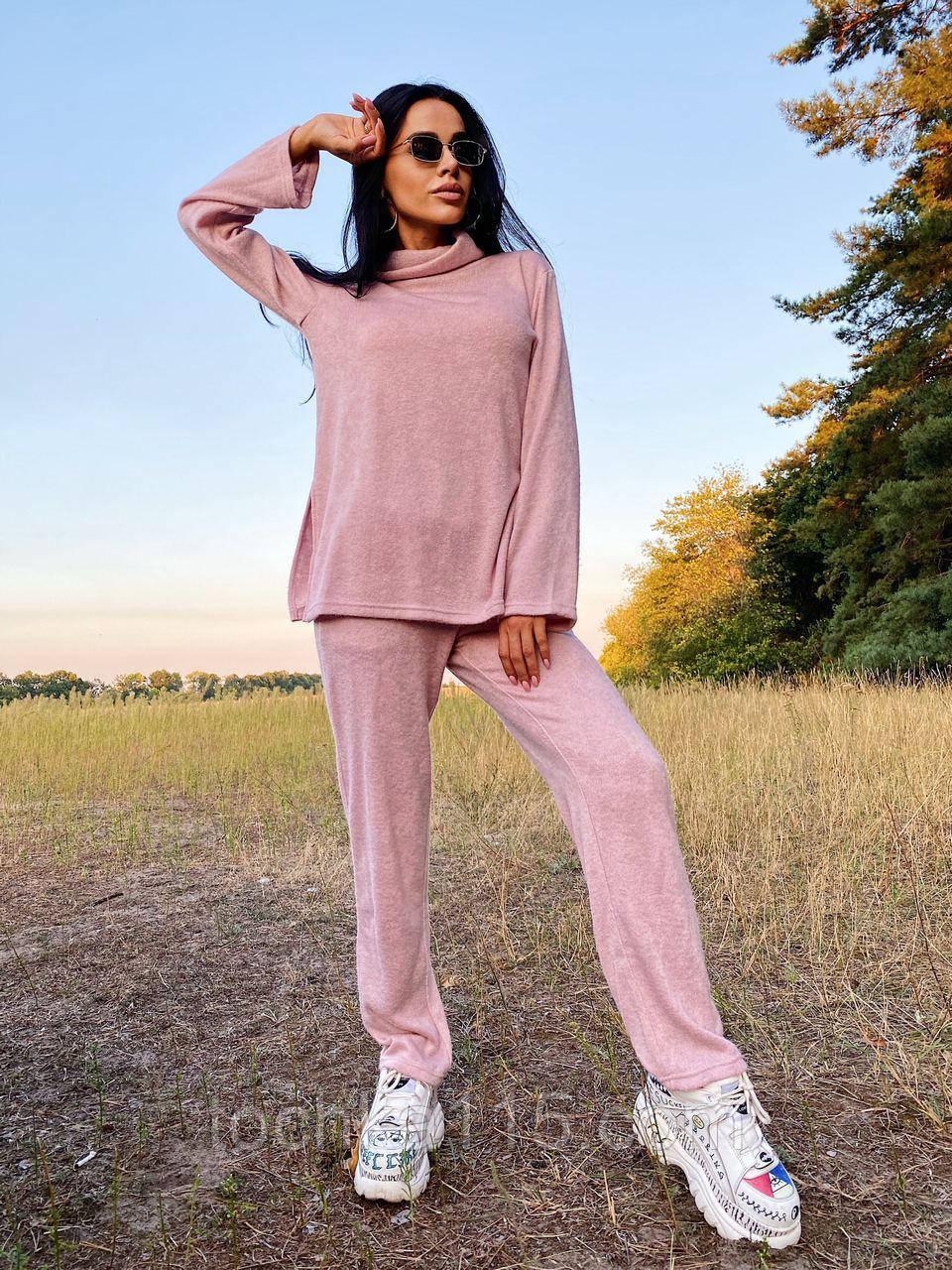 Стильный прогулочный костюмчик для осени из мягкой тёплой трикотажной ткани, 42-44, 46-48рр (розовый)