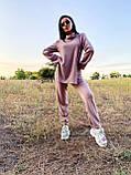 Стильный прогулочный костюмчик для осени из мягкой тёплой трикотажной ткани, 42-44, 46-48рр (розовый), фото 3