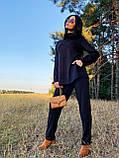 Стильный прогулочный костюмчик для осени из мягкой тёплой трикотажной ткани, 42-44, 46-48рр (розовый), фото 4