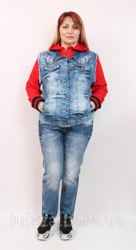 Джинсовый жилет со вставками Luizza (Турция)  50 - 54  р, красный