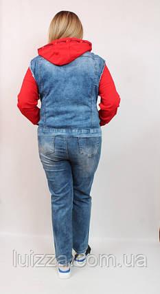Джинсовый жилет со вставками Luizza (Турция)  50 - 54  р, красный, фото 2