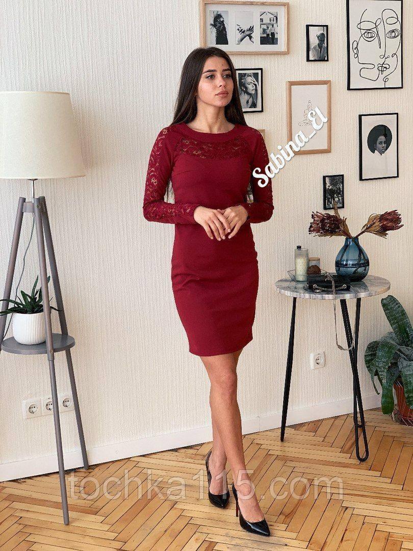 Шикарное стильное платье, 42, 44, 46рр, бордо