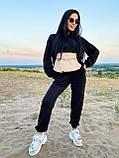 Стильный прогулочный костюмчик для осени из мягкой тёплой трикотажной ткани, 42-44, 46-48рр (коричневый), фото 2