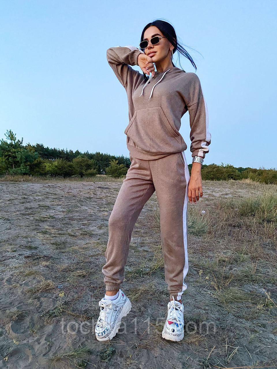 Модный костюм из мягкой тёплой трикотажной ткани, 42-44, 46-48рр (серый)