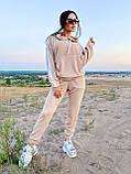 Модный костюм из мягкой тёплой трикотажной ткани, 42-44, 46-48рр (серый), фото 3